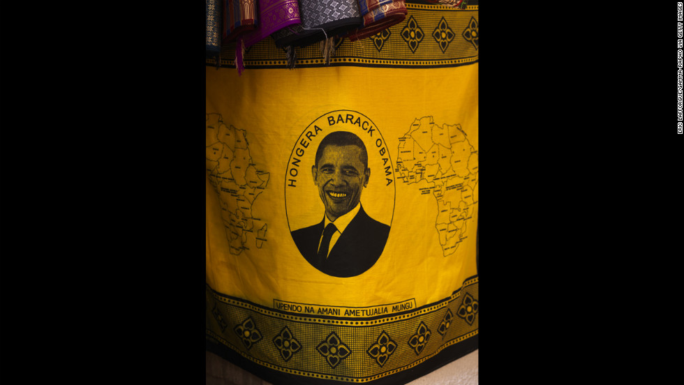 TANZANIA:  A fabric depicting Obama is displayed in a market in Zanzibar on February 11, 2009.
