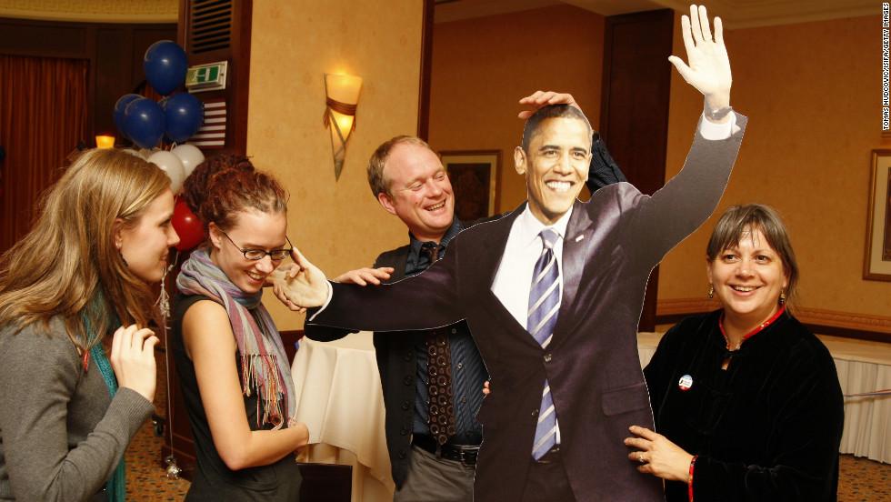 SLOVAKIA:  Americans living in Slovakia celebrate Obama's presidential victory on November 5, 2008, in Bratislava.