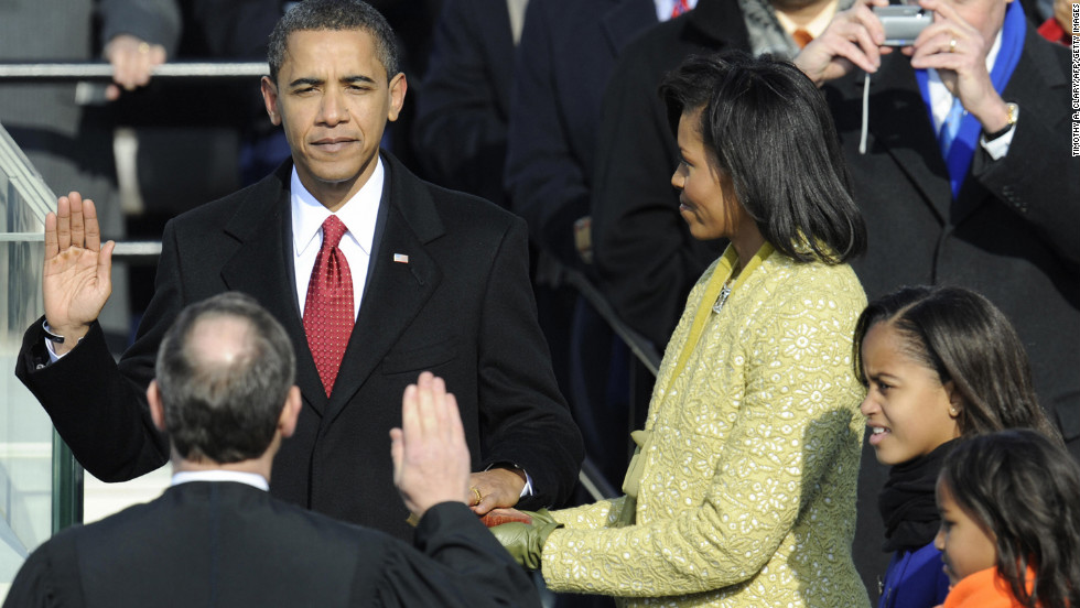 Barack Obama is sworn in as the first African-American president of the United States on January 20, 2009.