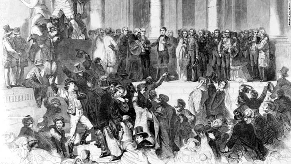 Chief Justice Roger B. Taney administers the oath of office to Franklin Pierce on the east portico of the U.S. Capitol on March 4, 1853.