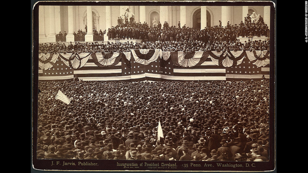 Grover Cleveland delivers his first inaugural address to the crowd on the east portico of U.S. Capitol on March 4, 1885.