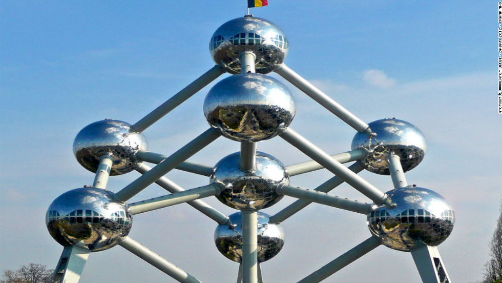 "As one of the only remaining symbols of the 1958 Brussels World Fair, this extraordinary structure, conceptualized by late engineer André Waterkeyn, represents an iron crystal magnified 165 billion times. It features nine spheres interconnected by 20 tubes. While three spheres contain either permanent or temporary exhibitions from around the world, it's the highest, at 92 meters (300 feet), that offers a spectacular panoramic view of the city. <br /><br />Capturing visitors' imaginations with its progressive vision of the future, <a href=""http://www.atomium.be/"" target=""_blank"">Atomium</a> receives an average of 600,000 visitors each year.<br /> (Image: Courtesy Atomium © www.atomium.be - SABAM 2012 - Frankinho)"
