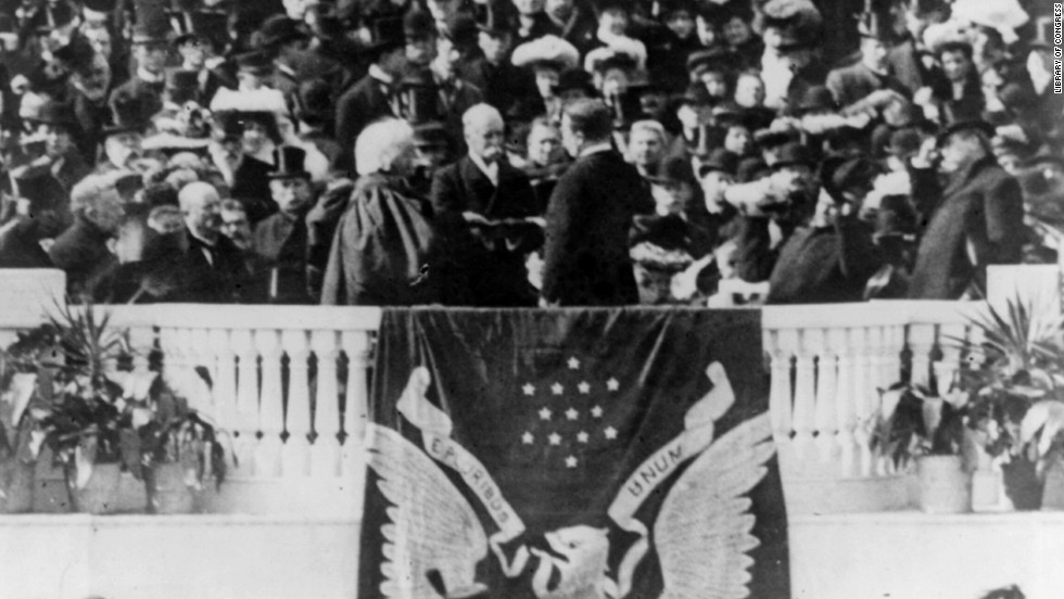 Theodore Roosevelt takes the oath of office for his second term on March 4, 1905.