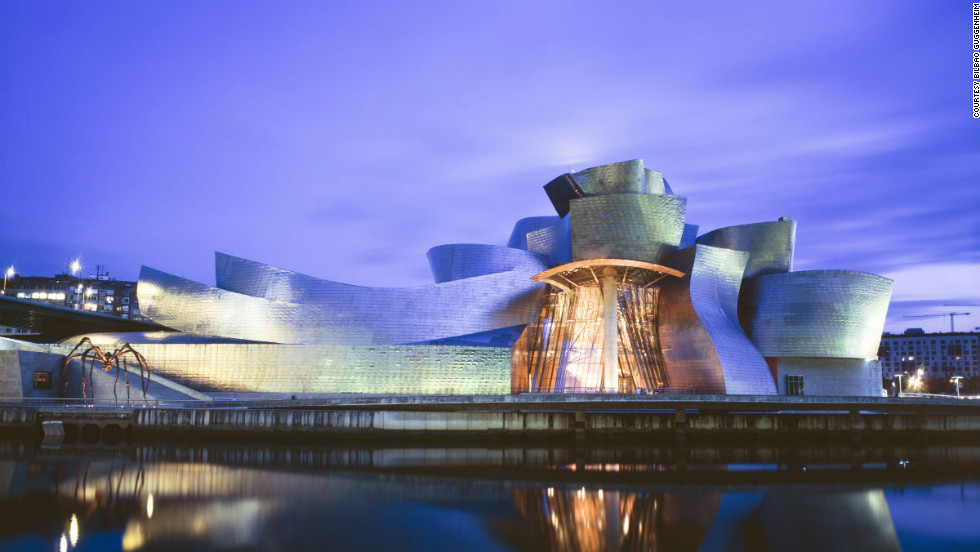 "Inaugurated with great fanfare in 1997 -- King Juan Carlos I personally christened the building -- <a href=""http://www.guggenheim-bilbao.es/ "" target=""_blank"">Bilbao's Guggenheim Museum</a> continues to charm visitors from around the world. Given carte blanche to design something ""innovative"" by the museum's director, legendary architect Frank Gehry created a seamless-looking structure made of limestone, glass and titanium that dramatically captures the light when viewed from the adjacent Nervión River. <br /><br />The museum was featured in the James Bond film ""The World is Not Enough,"" Mariah Carey's music video ""Sweetheart"" and in the computer game SimCity 4."