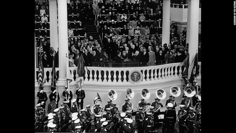 Chief Justice Warren E. Burger administers the oath of office to Richard M. Nixon for his second term at the U.S. Capitol, January 20, 1973.