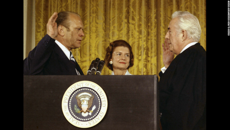 Supreme Court Chief Justice Warren Burger swears in Gerald Ford on August 9, 1974, after the resignation of President Richard Nixon.