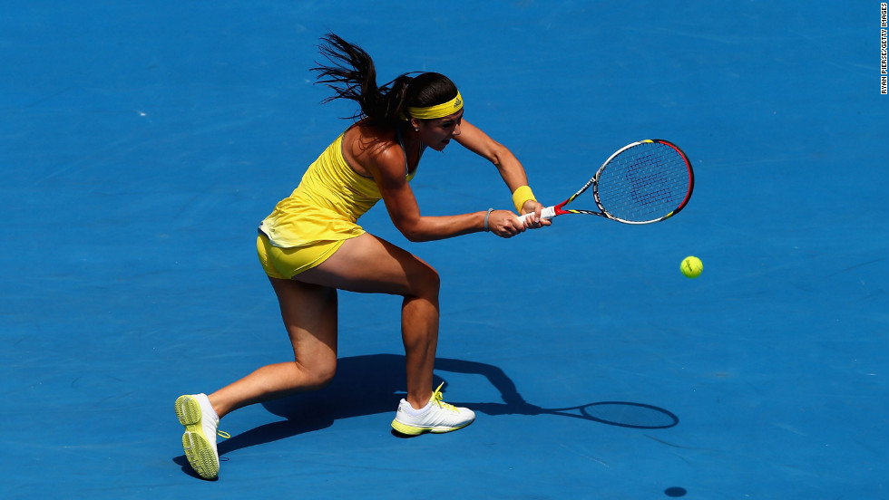 Sorana Cirstea of Romania plays a backhand in her third-round match against Na Li of China on January 18.