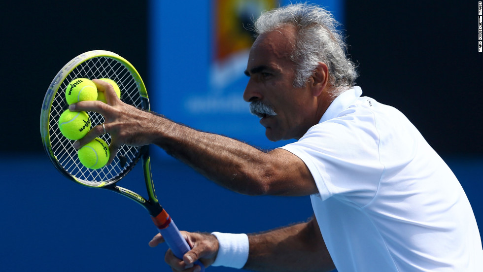 Mansour Bahrami of Iran warms up for a doubles match on January 19. He and Wayne Ferreira of South Africa faced Australians Mark Woodforde and Todd Woodbridge.
