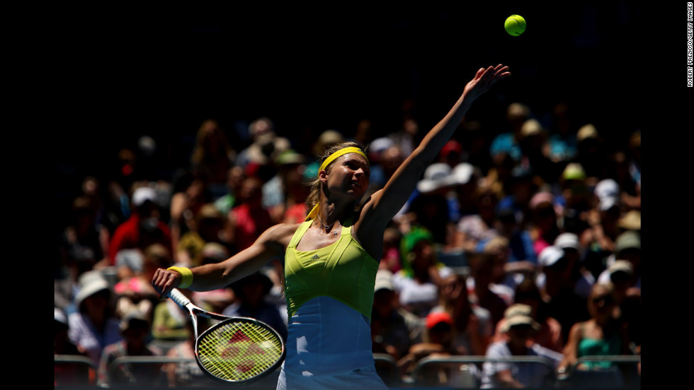 Maria Kirilenko of Russia serves in her third-round match against Yanina Wickmayer of Belgium on January 19.