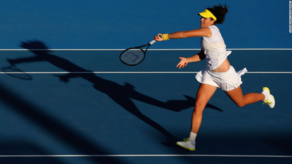 Laura Robson of Britain plays a forehand in her third-round match against Sloane Stephens of the United States on January 19.