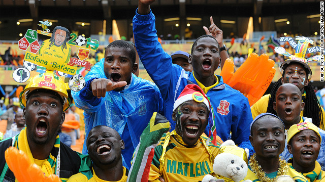 Fans enjoy the atmosphere during the 2013 African Cup of Nations match between South Africa and Cape Verde.