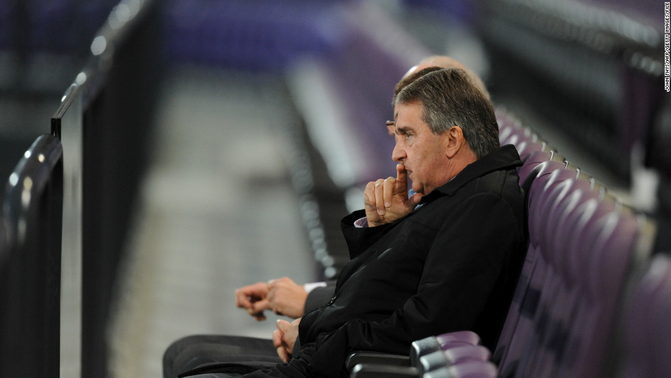 In April 2012, Mbemba was sent back to the Congo, but by August 2012 he was back at Anderlecht when he was given a three-year professional contract. Anderlecht's general manager Herman van Holsbeeck is pictured here sitting in the club's stadium watching a first-team training session.
