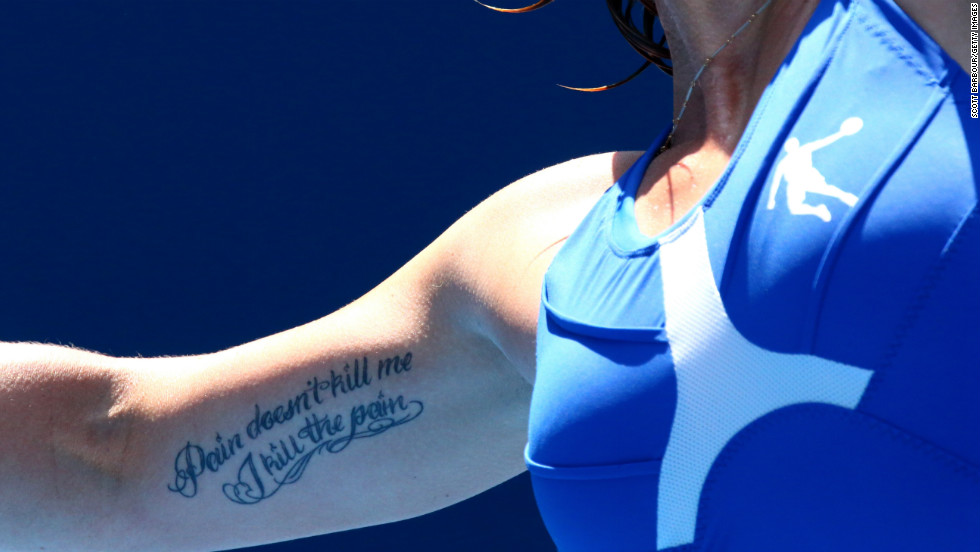 Svetlana Kuznetsova shows off a tattoo on January 21.