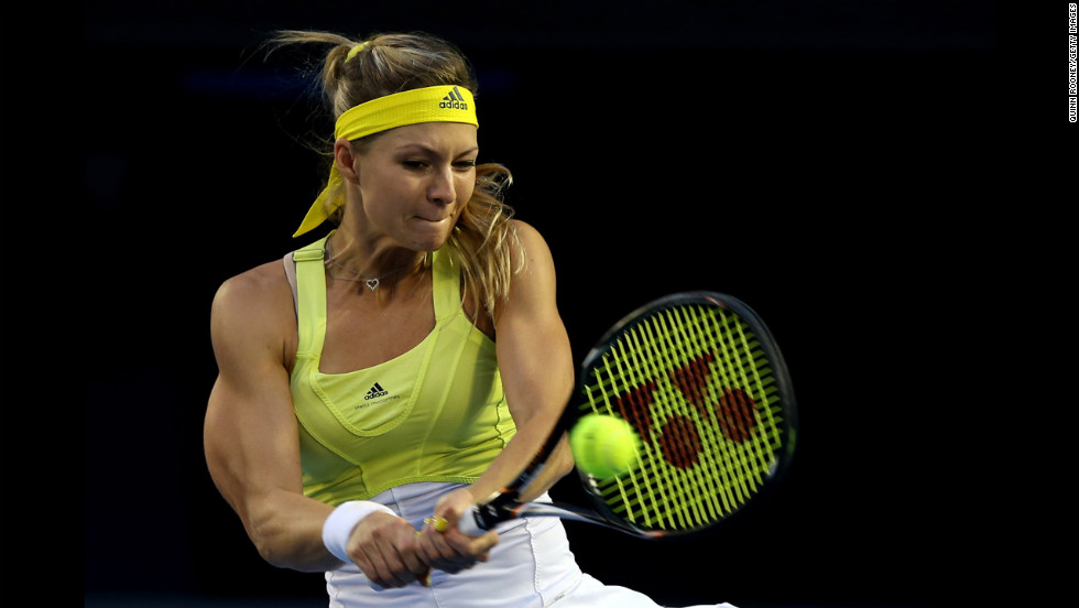 Kirilenko plays a backhand against Williams on January 21.