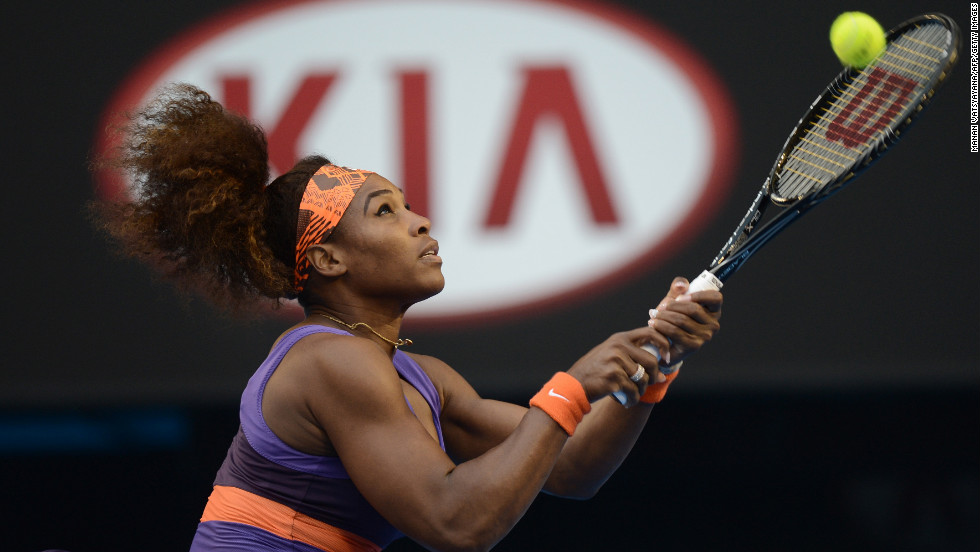 American Serena Williams hits a return against Russia's Maria Kirilenko during their women's singles match on Day Eight on Monday, January 21. Williams won 6-2, 6-0.