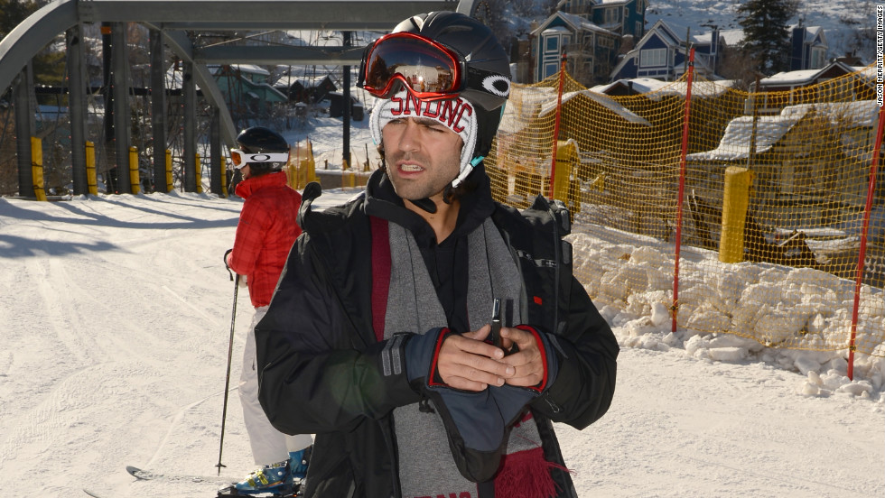 Adrian Grenier goes snowboarding.