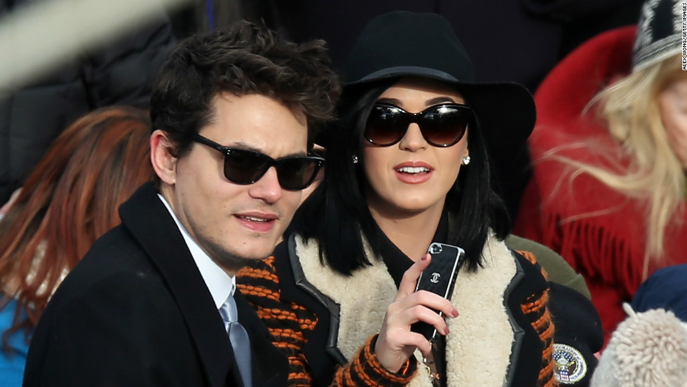 John Mayer and Katy Perry attend the 2013 presidential inauguration in Washington, D.C.