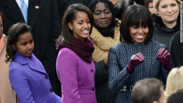 Michelle Obama arrives with daughters Sasha, left, and Malia for the 57th Presidential Inauguration on January 21.