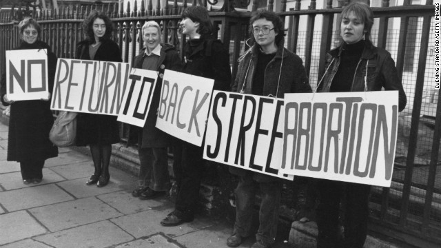 A group of women advocate for legal abortions in 1980.
