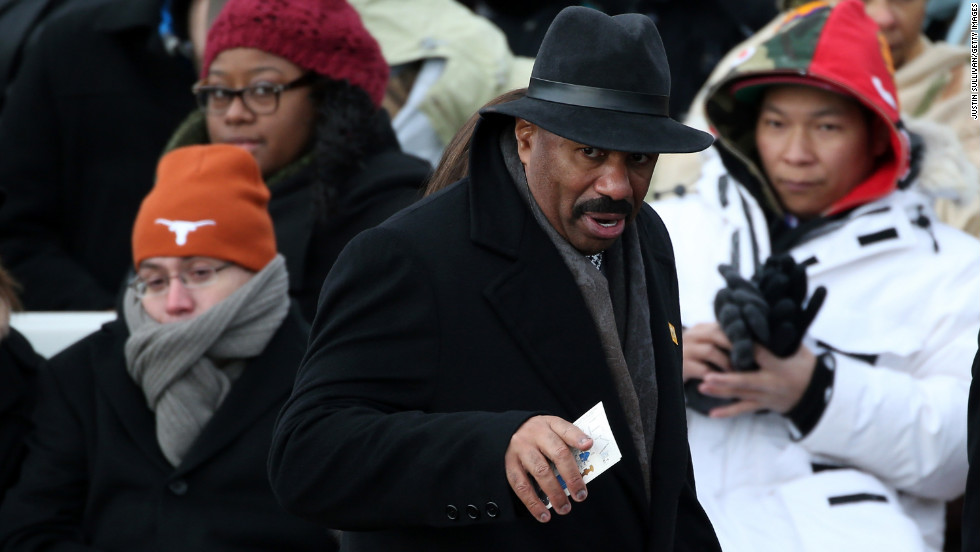 Steve Harvey waits for the presidential inauguration to begin.