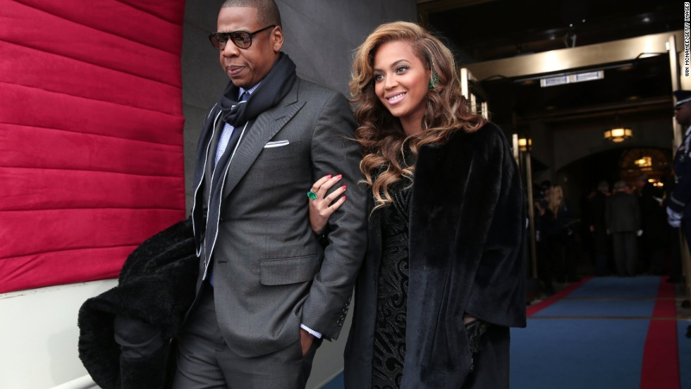 Jay-Z and Beyonce arrive at the 2013 presidential inauguration in Washington.