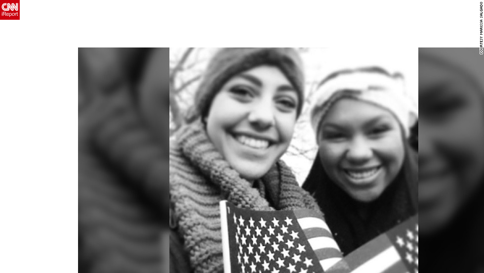 """George Washington University freshmen Marissa Salgado (marissa_salgado), left, and Bethany Thomas (@bethanythomass) were up since 4 a.m. Monday, """"because we were so excited about the inauguration and wanted to make sure we had a great view. It paid off! We were as close as you could get without having tickets."""""""