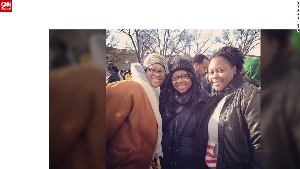 """""""This is something I can tell my kids and grandkids about when I get older,"""" said Jamillah Hodge (@2punkins), left, who lives in Carneys Point, New Jersey, and caught a bus with her best friends to D.C.  """"My favorite moment was when Barack Obama entered the Capitol and said, 'I've missed this place!' Loved It!"""""""