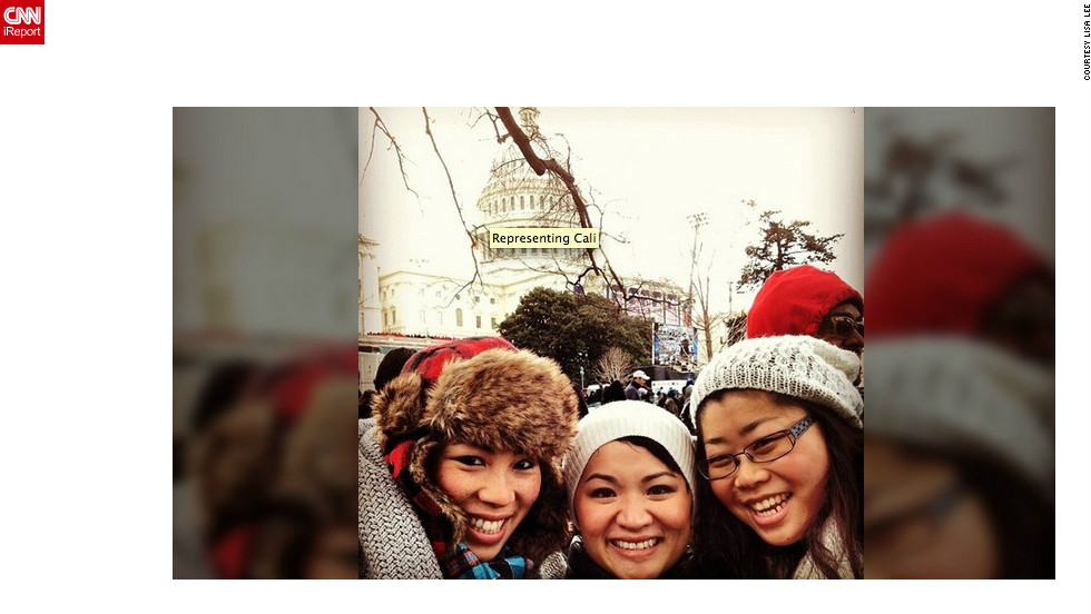 """Lisa Lee (@rrrlisarrr), left, a diversity program manager at Facebook, said <br />Obama's inauguration was especially meaningful to her. """"Like many of our fellow Asian-Americans, we are here to celebrate a president who we've felt is inclusive of our voices and experiences,"""" she said. """"[The inauguration] means a renewed sense of promise and commitment to change our society for the better, not just from the president and his administration, but for everyone."""""""