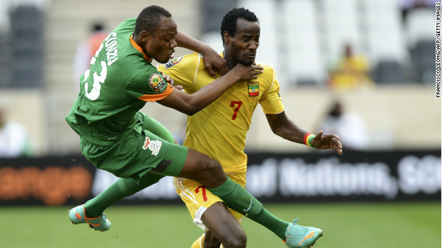 Zambia's Stoppila Sunzu and Ethiopia's Ahmed Said in action during the 1-1 draw in Nelspruit.