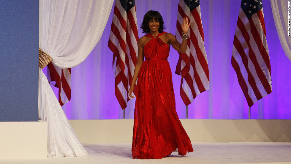 For the Inauguration Night balls in 2013, Obama wore a ruby-colored chiffon and velvet gown by Jason Wu, the same designer who made her 2009 inaugural dress. Known for her continuous support of emerging designers, the first lady essentially made the Taiwanese-born designer a household name in 2009 by wearing his dress.