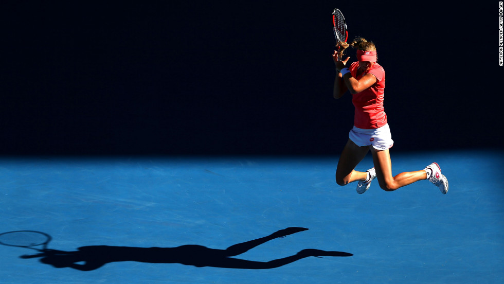 Makarova goes airborne in her match against Sharapova on January 22.