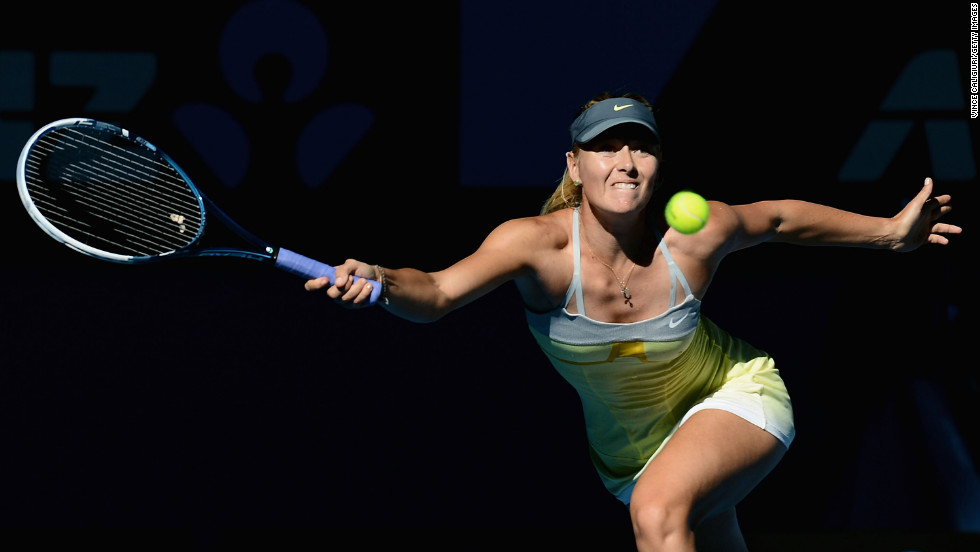 Russian Maria Sharapova plays a forehand in her quarterfinal match against fellow Russian Ekaterina Makarova on January 22. Sharapova won 6-2, 6-2.