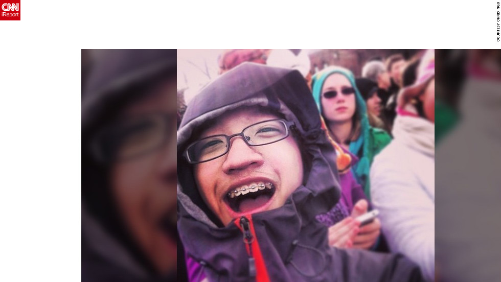 """Lots of young people were in the crowd. This is Chris Ngo (@icraychris), a 14-year-old from South Carolina. He described this day as a """"once in a lifetime chance"""" and said he couldn't be happier to be on the mall Monday."""