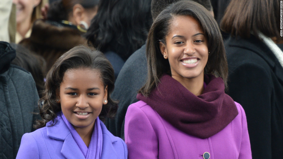 First daughters Sasha, left, and Malia arrive for the 57th Presidential Inauguration.