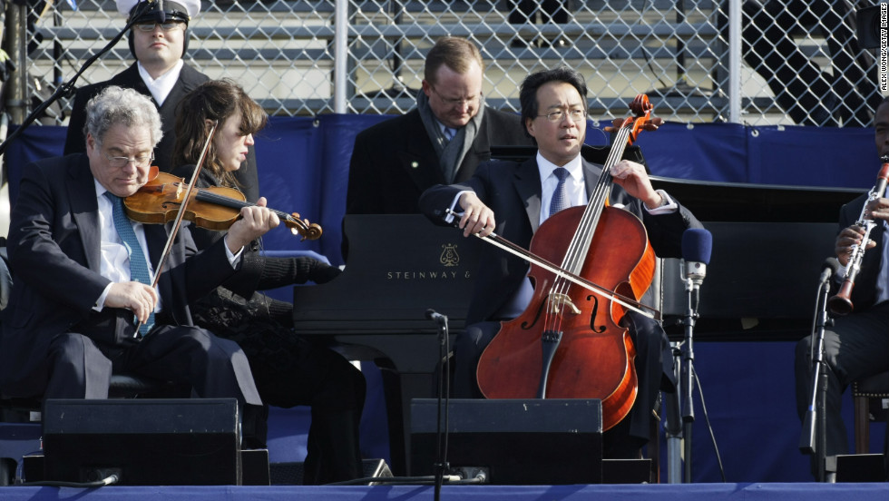 "Cold temperatures forced Cellist Yo-Yo Ma and violinist Itzhak Perlman to mime along to a prerecording during President Barack Obama's first inauguration four years ago. ""I really wanted to do something that was absolutely physically and emotionally and, timing-wise, genuine,"" Ma told <a href=""http://www.nytimes.com/2009/01/23/arts/music/23band.html"" target=""_blank"">The New York Times</a> in 2009. ""We also knew we couldn't have any technical or instrumental malfunction on that occasion. A broken string was not an option. It was wicked cold."""