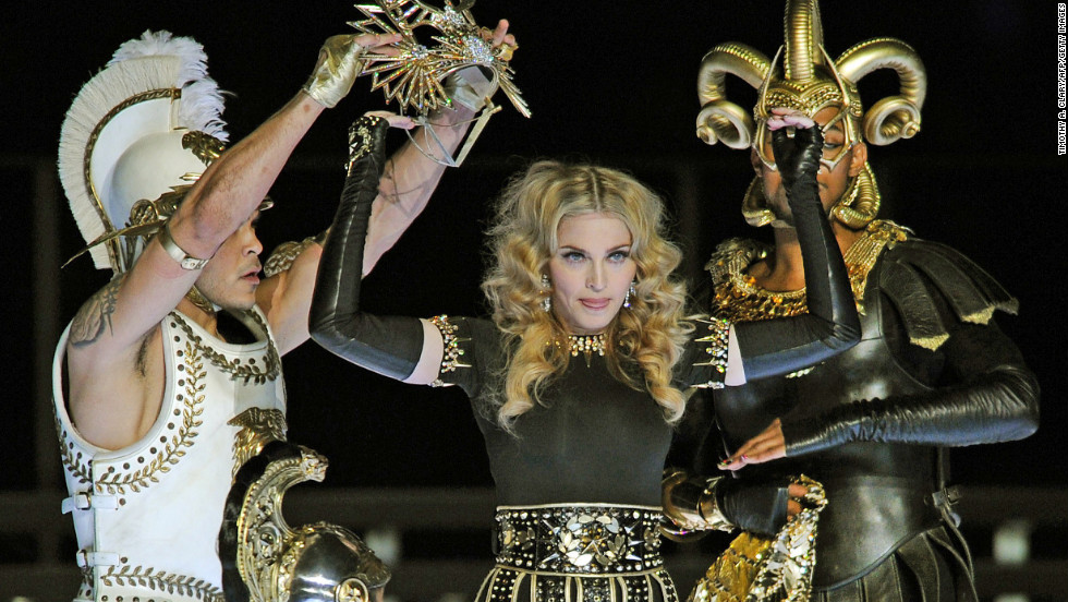 "Madonna was <a href=""http://dallas.sbnation.com/2012/2/5/2773985/2012-superbowl-halftime-show-madonna"" target=""_blank"">accused of lip-syncing</a> during the Super Bowl halftime show in 2009. But in all fairness, she was dancing around quite a bit."