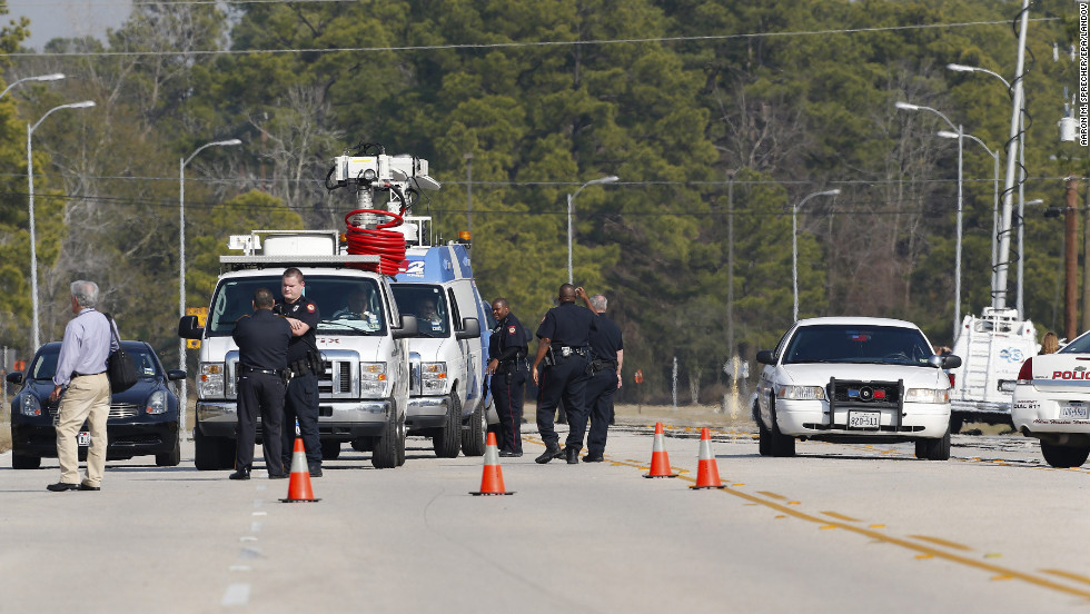 Law enforcement secure the area.