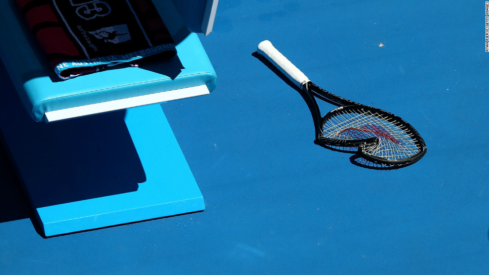 Williams broke her racket while playing Stephens on January 23.