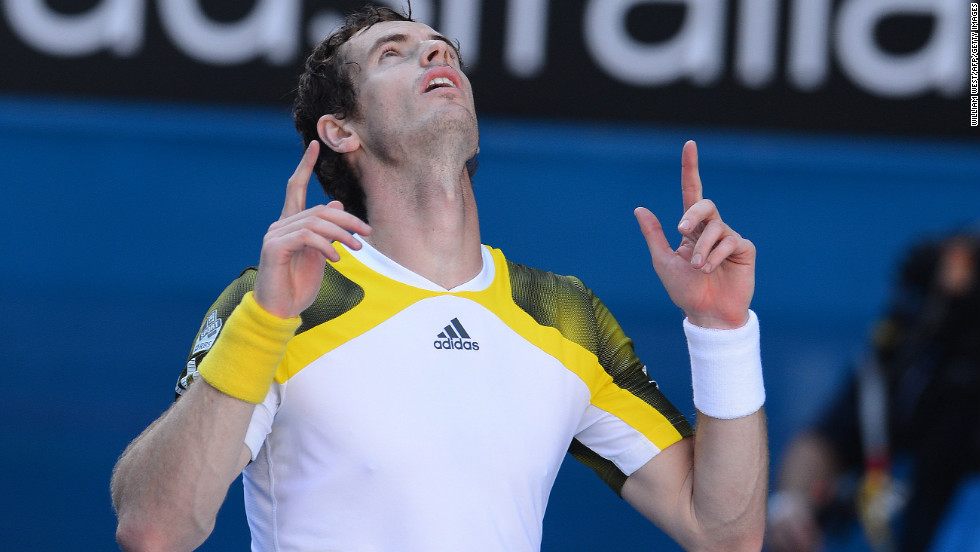 Murray celebrates beating Chardy on January 23.