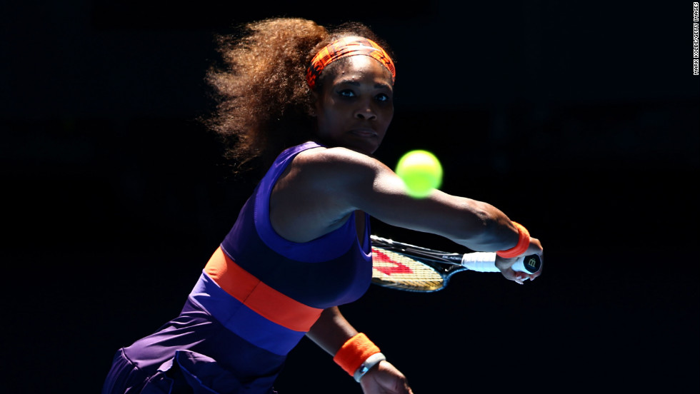 Williams stares down the ball during her match on January 23 against Stephens.