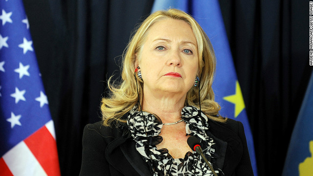 Clinton stands during a press conference following meetings at the Prime Minister's Office in Pristina, Kosovo, on October 31, 2012. Clinton said that Kosovo's unilaterally declared independence, fiercely opposed by Serbia, was 'not up for discussion'.