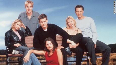 The cast of 'Dawson's Creek.' (Season 3) Back row: James Van Der Beek. Middle row: Michelle Williams, Joshua Jackson, Meredith Monroe and Kerr Smith. Front row: Katie Holmes. 2000 Columbia/TriStar International Television. A Sony Pictures Entertainment Company.