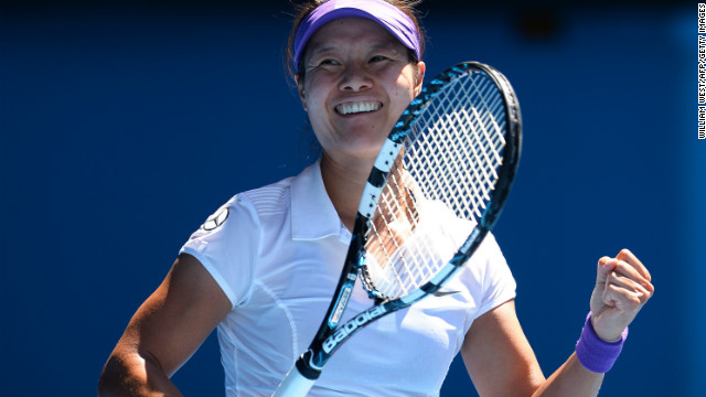 Chinese tennis star Li Na celebrates after beating Maria Sharapova to reach the Australian Open final.