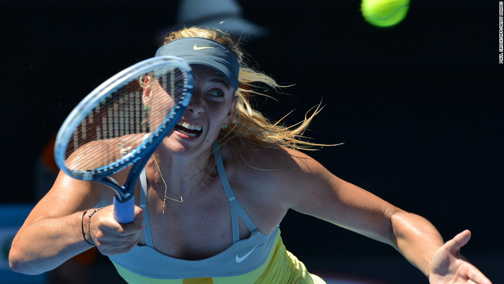 Sharapova plays a return against Li on January 24.