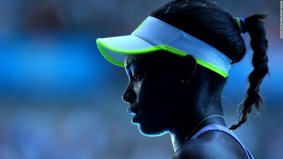 Stephens pauses during her match against Azarenka on January 24.