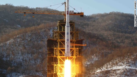 This picture taken by North Korea's official Korean Central News Agency (KCNA) on December 12, 2012 shows North Korean rocket Unha-3, carrying the satellite Kwangmyongsong-3, lifting off from the launching pad in Cholsan county, North Pyongan province in North Korea. North Korea's leader has ordered more satellite launches, state media said on December 14, 2012, two days after Pyongyang's long-range rocket launch triggered global outrage and UN condemnation. AFP PHOTO / KCNA vis KNS ---EDITORS NOTE--- RESTRICTED TO EDITORIAL USE - MANDATORY CREDIT 'AFP PHOTO / KCNA VIA KNS' - NO MARKETING NO ADVERTISING CAMPAIGNS - DISTRIBUTED AS A SERVICE TO CLIENTS (Photo credit should read KNS/AFP/Getty Images)