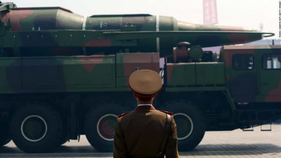 A military vehicle participates in a parade in Pyongyang in April 2012.