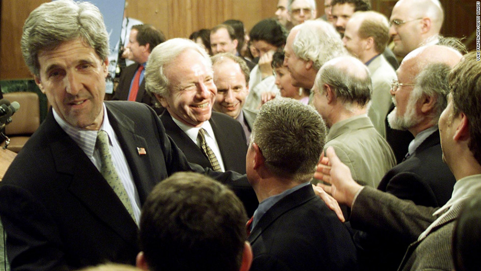 Kerry and Sen. Joe Lieberman greet supporters on April 18, 2002, on Capitol Hill after the Senate voted to prevent further debate about initiating new oil exploration in the Arctic National Wildlife Refuge in Alaska.
