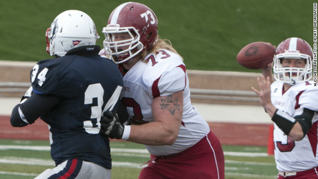 Chadron State College standout Garrett Gilkey, No. 73, is likely to be recruited by the NFL in the 2013 draft.