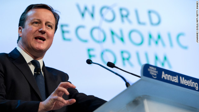British Prime Minister David Cameron delivers a speech during a session of the World Economic Forum Annual Meeting 2013 on January 24, 2013 at the Swiss resort of Davos.